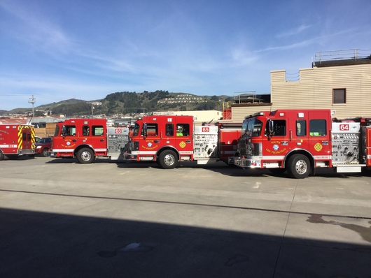 Group of Fire engines for South San Francisco in parking lot