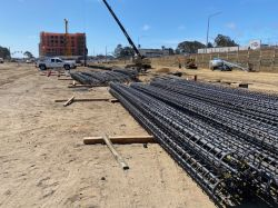 Cages onsite for production piles