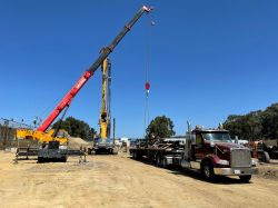 Drill Tech Subcontractor prepping auger cast piles for testing