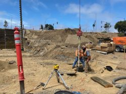 After drilling, Drill Tech places auger cast pile