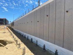 Below Grade Waterproofing Installed Along Shoring Wall