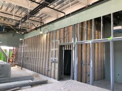 Framing interior drywall at dispatch rooom in Police Building