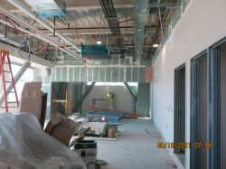 Plastering drywall in Dispatch Room