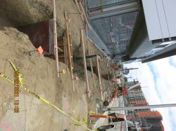 Trench and form footings for bollard placement
