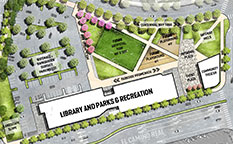 Architectural site plan of Library and Parks & Rec Facility