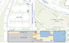 Architectural site plan of exterior space for Library and Parks & Rec Facility