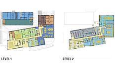 Architectural floor plans of Level 1 and 2 for new Police Station